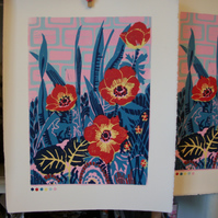 SALE Anemone in red original lino print.
