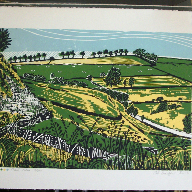Trail View Lino print