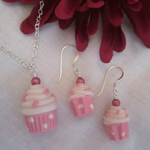 Pink Cupcake Necklace and Earring Set