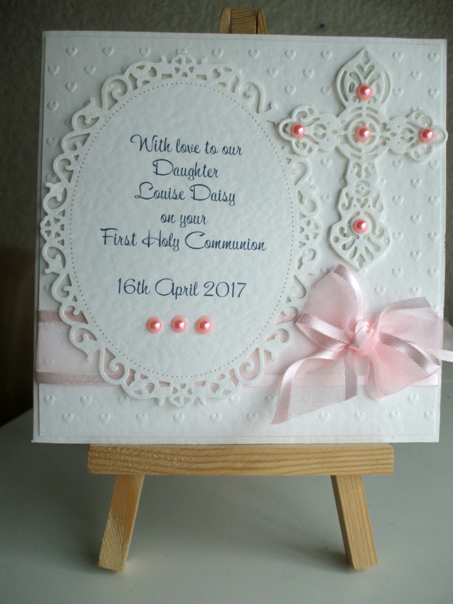 Personalized  First Holy Communion Card for a Girl