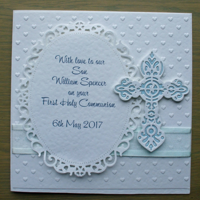 Personalized First Holy Communion Card for a Boy or Girl
