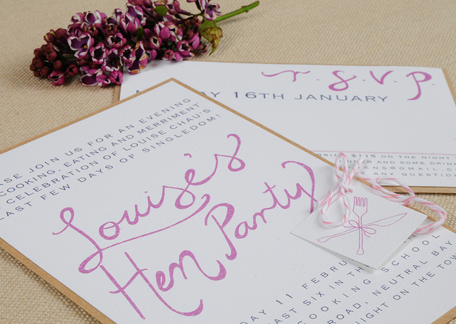 Modern Wedding Invitation Suite - Hand Calligraphy, Hen Party, Cooking Party