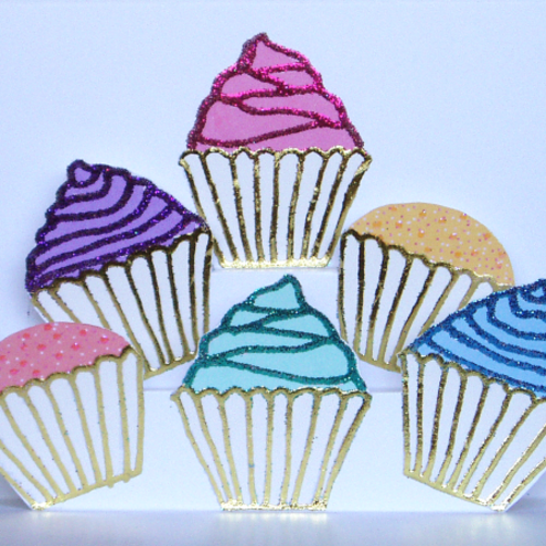 Multi-coloured Cupcakes pop-up card