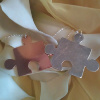 Missing piece duo sterling silver and copper necklaces
