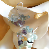 Fluorite circle earrings