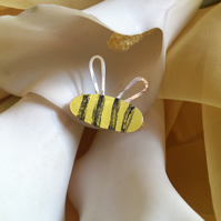 Bee enamelled brooch