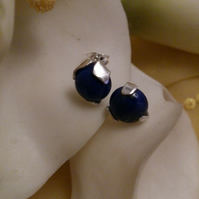 Lapis lazuli and sterling silver stud earrings
