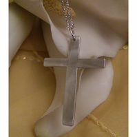Brushed cross necklace