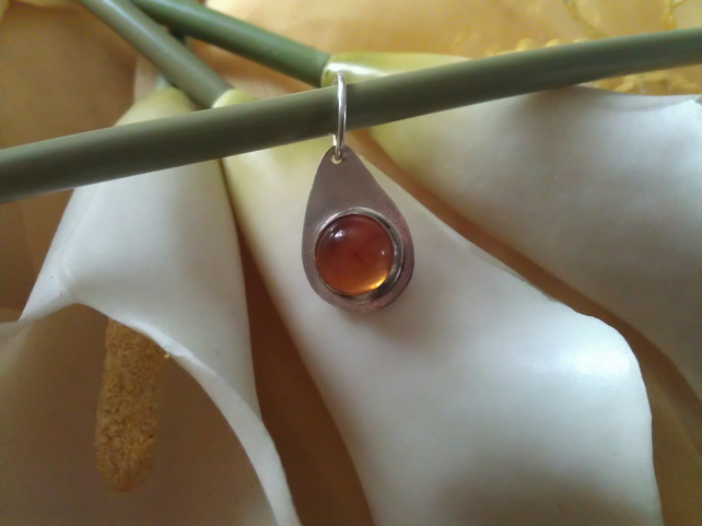 Amber drop sterling silver necklace