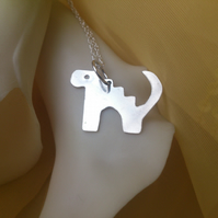 2 Leg dinosaur sterling silver necklace
