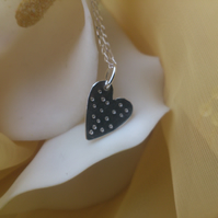 Spotty heart sterling silver necklace