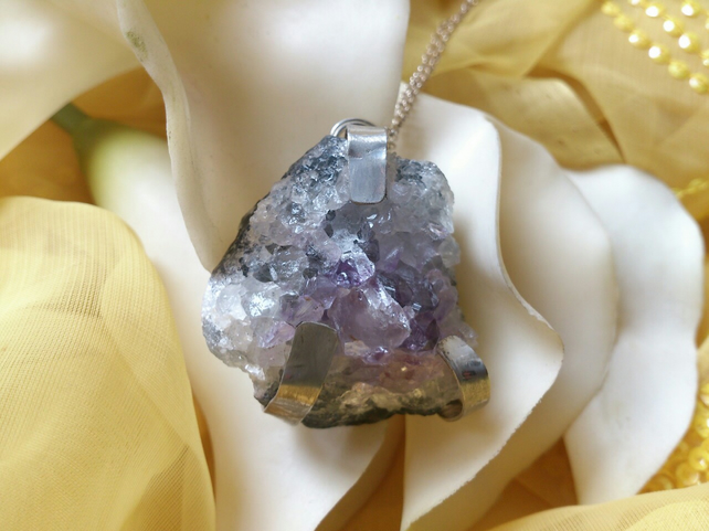 Large amethyst chunk necklace