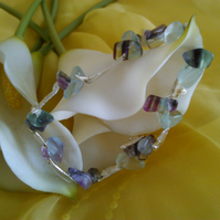 fluorite sterling silver elasticated bracelet