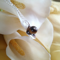 3d calla lily with tigers eye sterling silver necklace