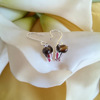 3d calla lily with tigers eye sterling silver earrings