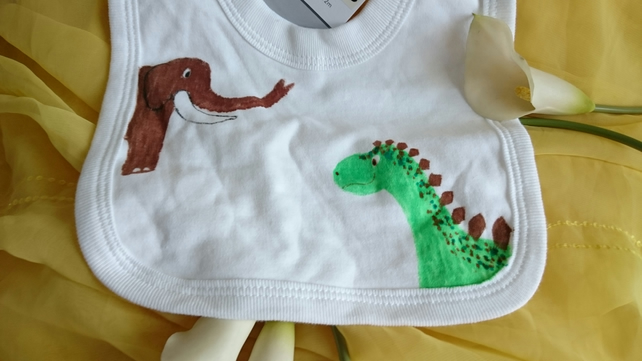 dino and mammoth pullover cotton bib