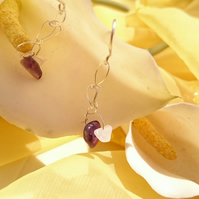 Crochet sterling silver wire earrings with amethyst and rose quartz