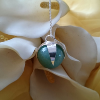 Aventurine ball sterling silver necklace