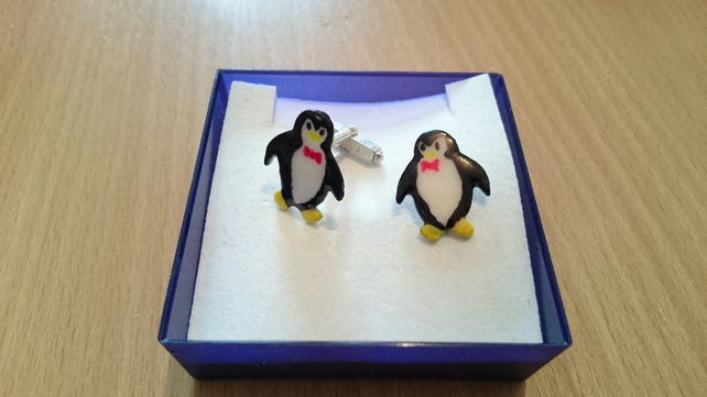 Penguin sterling silver and enamel cufflinks
