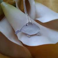 Hammered turtle sterling silver necklace