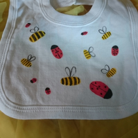 Ladybird and bee pullover bib