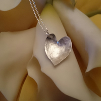 Sterling silver domed heart necklace