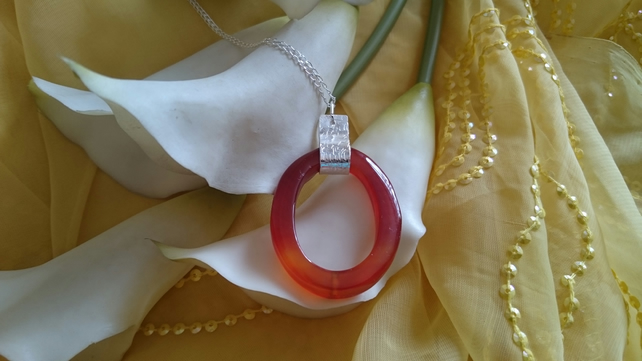 Hammered sterling silver and carnelian oval necklace