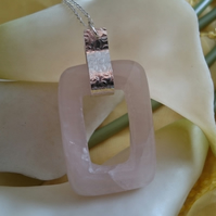 Hammered sterling silver and rose quartz rectangle necklace