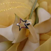 Sterling silver open star adjustable ring