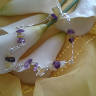 Melted silver, amethyst and yellow opal adjustable bracelet