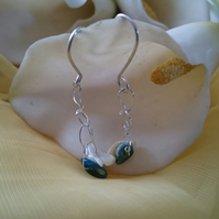 Sterling silver crocheted apatite and mother of pearl earrings