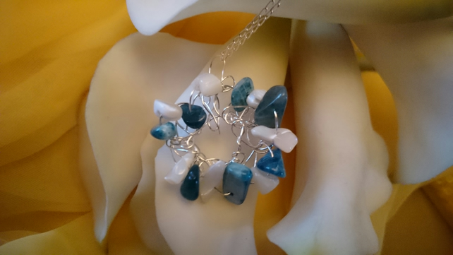 Sterling silver crocheted apatite and mother of pearl necklace