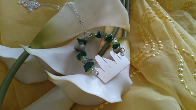 Sterling silver emerald city necklace