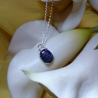 Sterling silver blue goldstone necklace