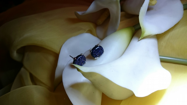 Sterling silver blue goldstone stud earrings