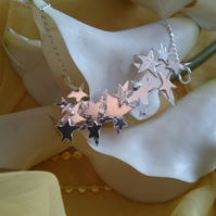 Sterling silver star panel necklace