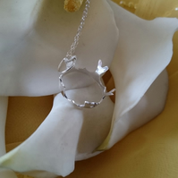 Sterling silver heart crown necklace