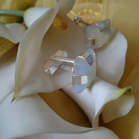 Opalite and sterling silver cufflinks