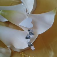 Sterling silver heart with quartz necklace