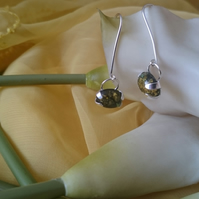 Green amber and sterling silver drop earrings
