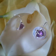 Amethyst cross over circle sterling silver earrings
