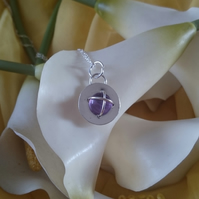Amethyst cross over sterling silver necklace