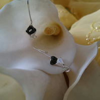 3d Calla lily and onyx sterling silver earrings