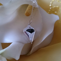 3d Calla lily and onyx sterling silver necklace