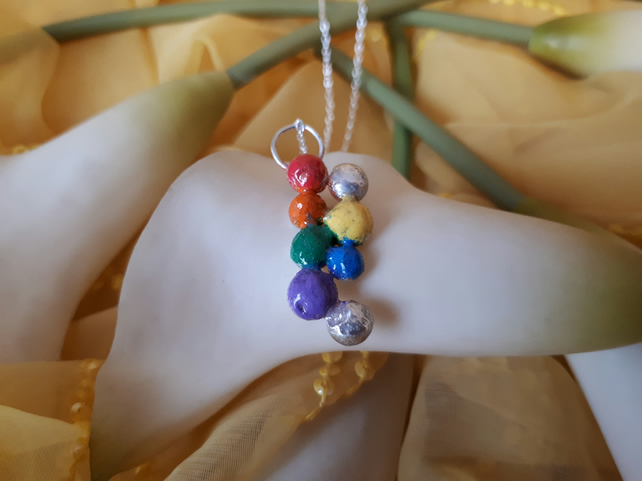 Sterling silver rainbow balls necklace