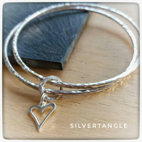 Double Silver Bangle with Heart Charm