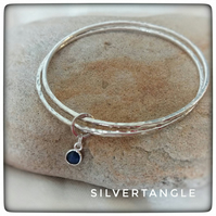 Double Silver Bangle with Sapphire Charm - FREE UK P&P
