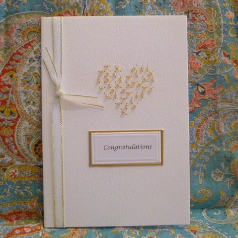 CONGRATULATIONS Handpricked Stitched and Beaded Heart Card Gold Thread