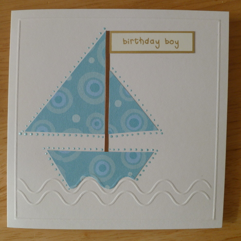 HANDMADE CARD BLUE SAILING BOAT BOY BIRTHDAY
