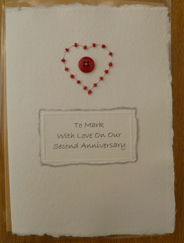 Choose Message 2nd Second Wedding Anniversary Recycled COTTON rag card